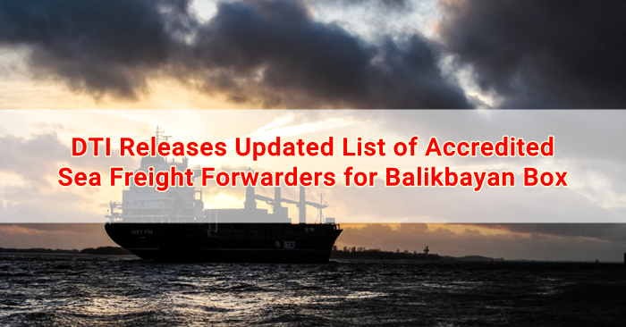 DTI Releases Updated List of Accredited Sea Freight