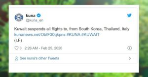 kuwait suspends flights thailand italy south korea
